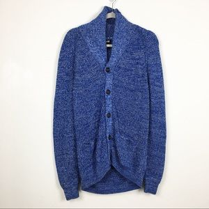 H&M button down blue chunky cardigan sweater